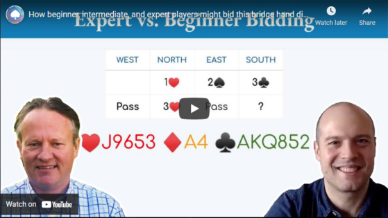 How beginner, intermediate, and expert players might bid this bridge hand differently